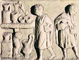 Bas relief sculpture of Roman slaves.