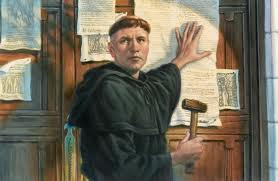 "The ""95 Theses"" (Against Indulgences) Being Pounded by Luther on the Door of the Wittenberg Church"