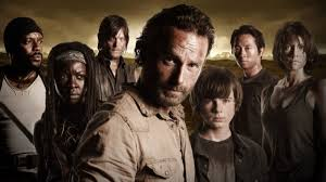 The Walking Dead cast with Rick in the forefront.