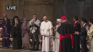 Pope Francis meets with religious leaders at the 9/11 Museum memorial.