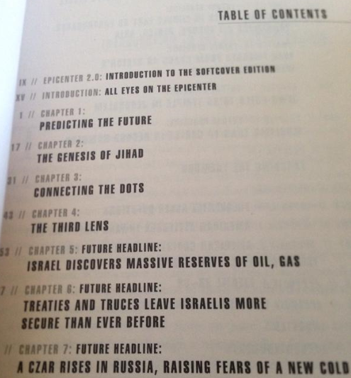 """The table of contents of """"Epicenter,"""" from 2006."""